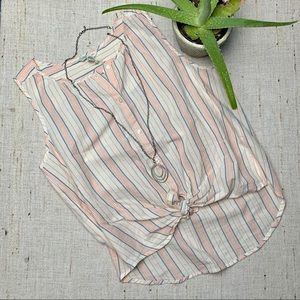 NWT Lucky Brand Button up tank style tie front